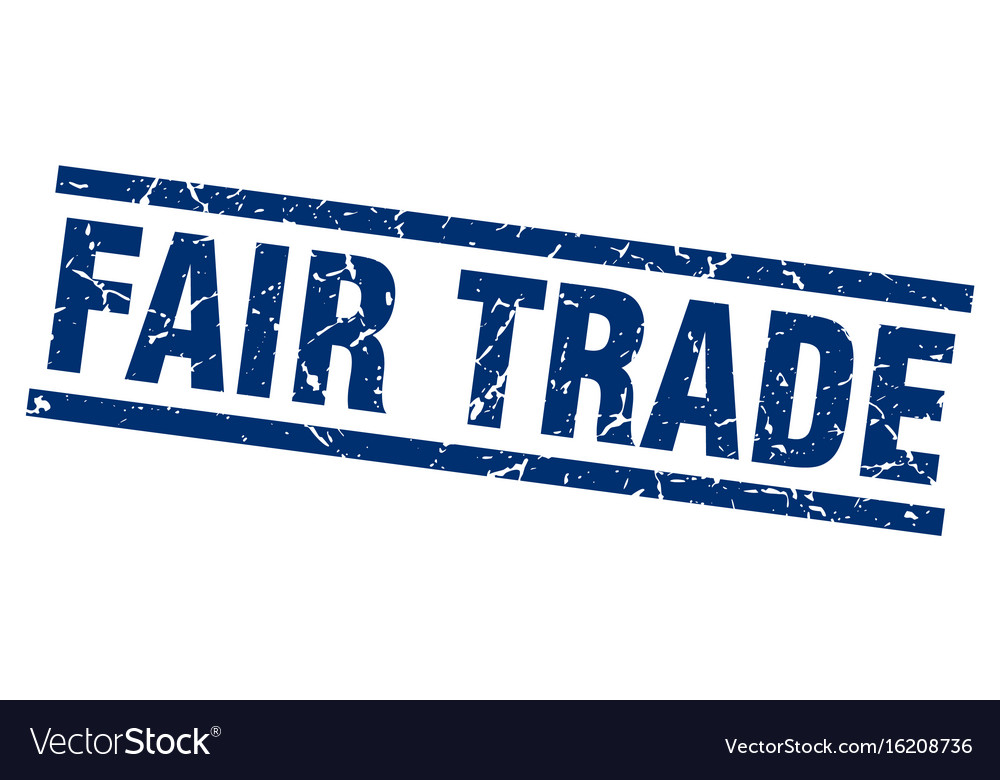 Square grunge blue fair trade stamp vector image