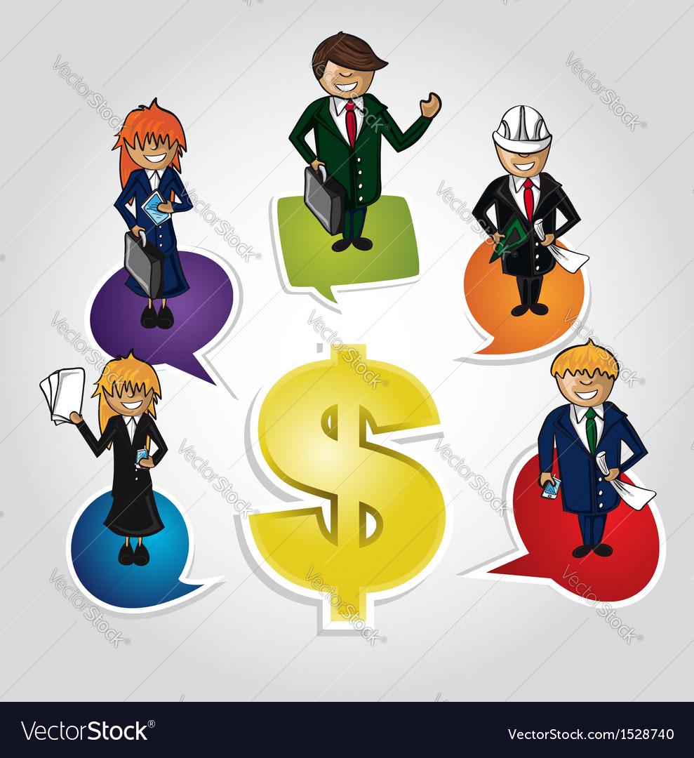Business teamwork money social people vector image