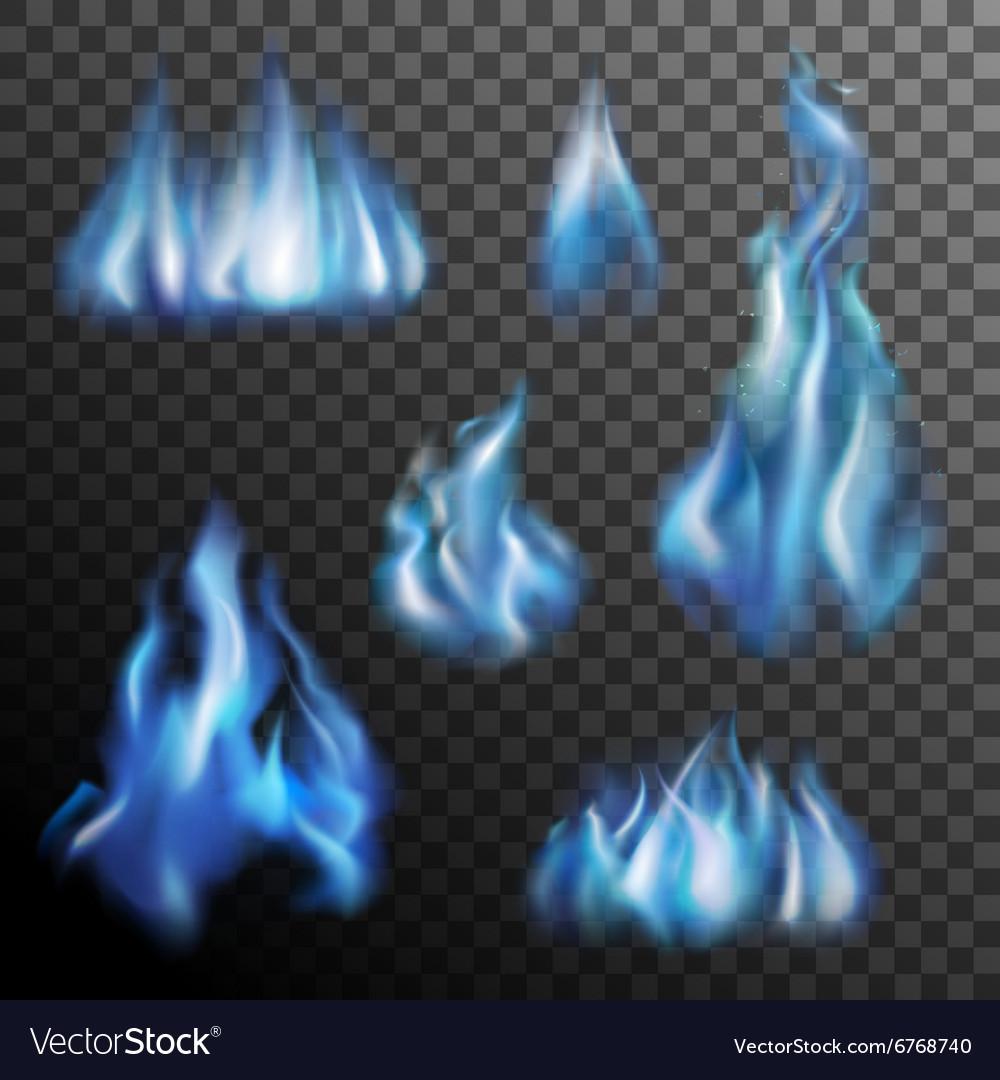 Blue Fire Transparent Set vector image