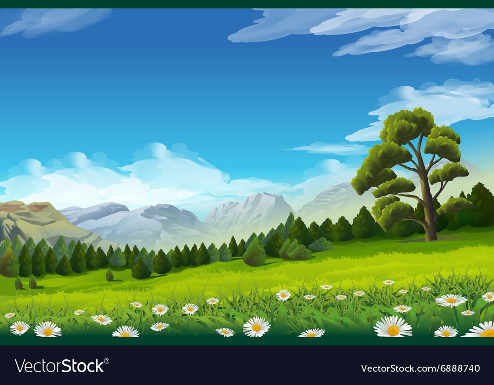 Spring landscape background vector image