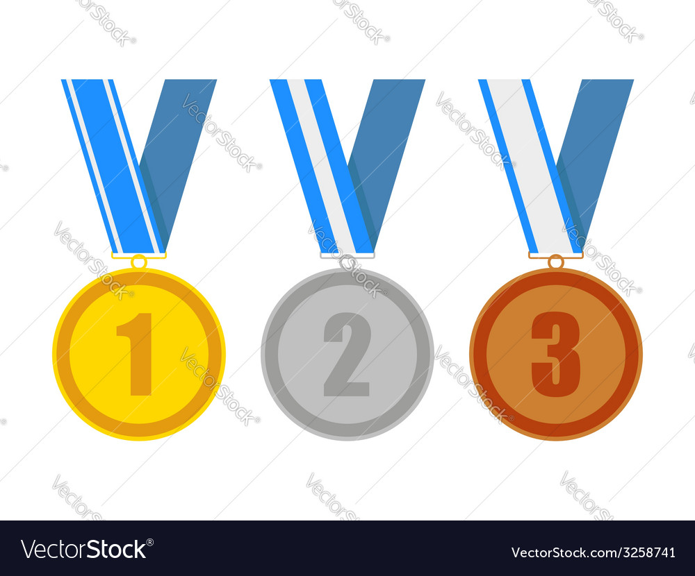 Gold silver and bronze award medals vector image