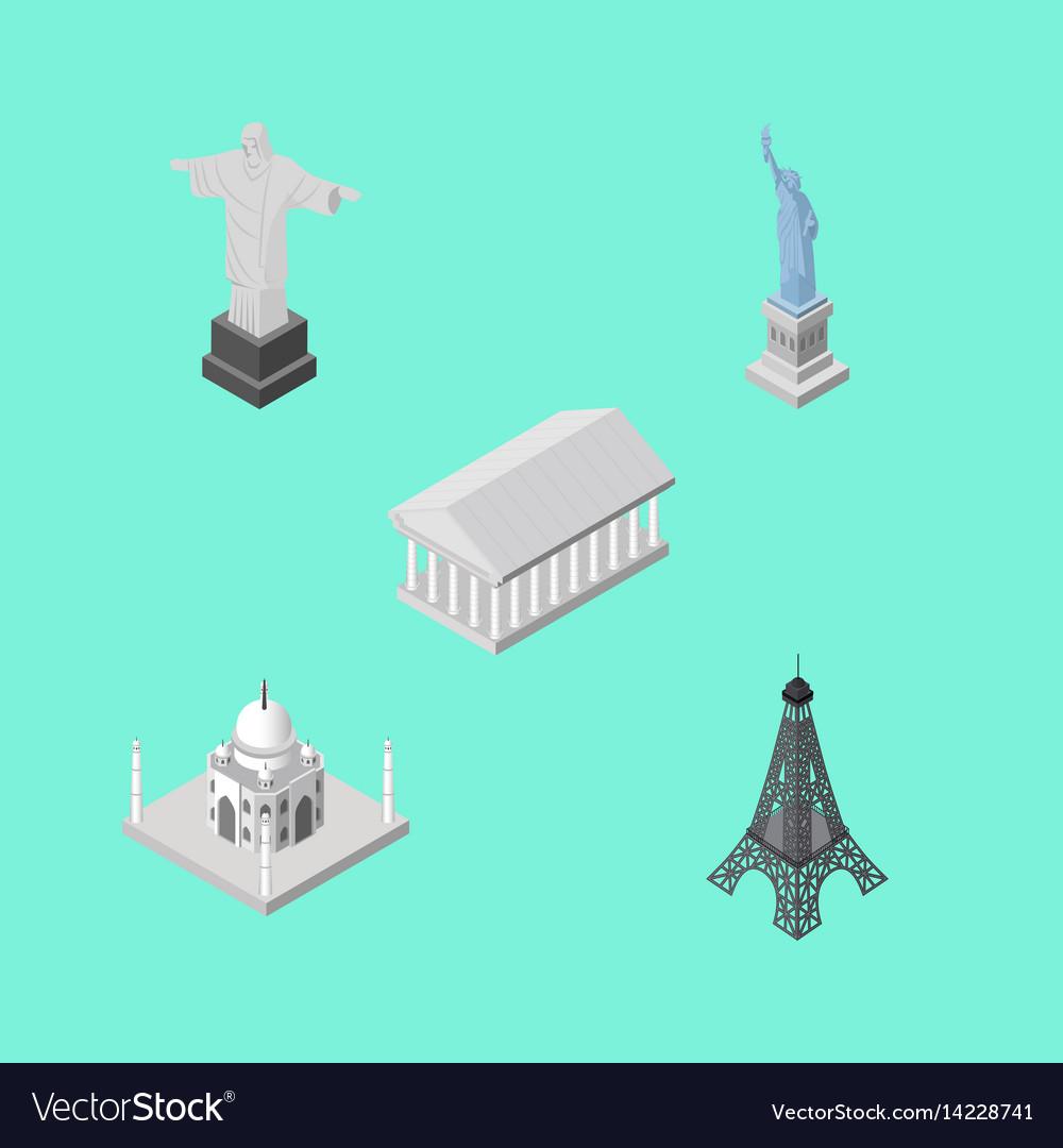 Isometric cities set of athens paris india vector image