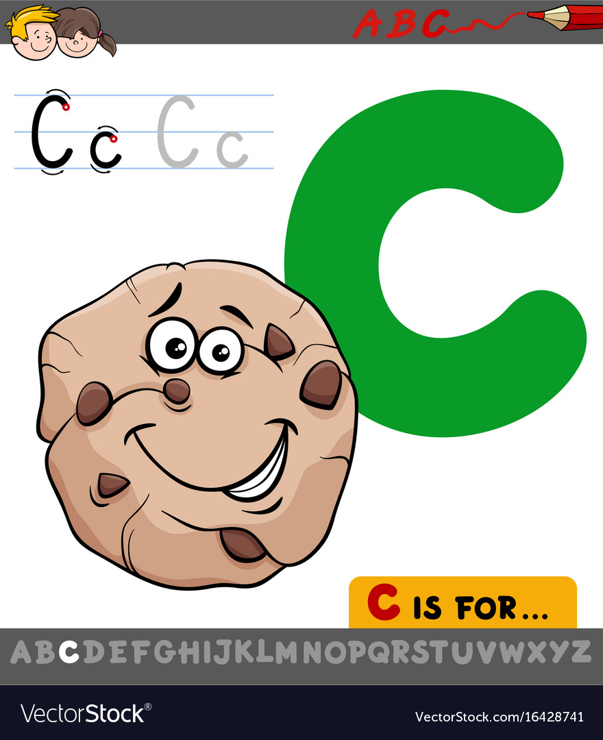 Letter c with cartoon cookie sweet vector image