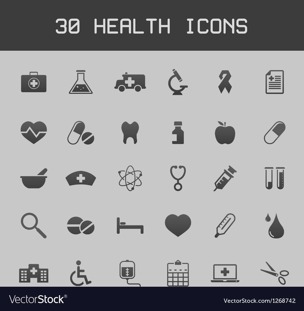 Dark healthy and medicare icon set vector image