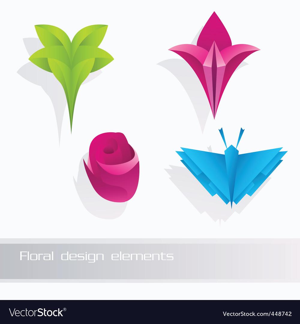 Nature floral design elements vector image