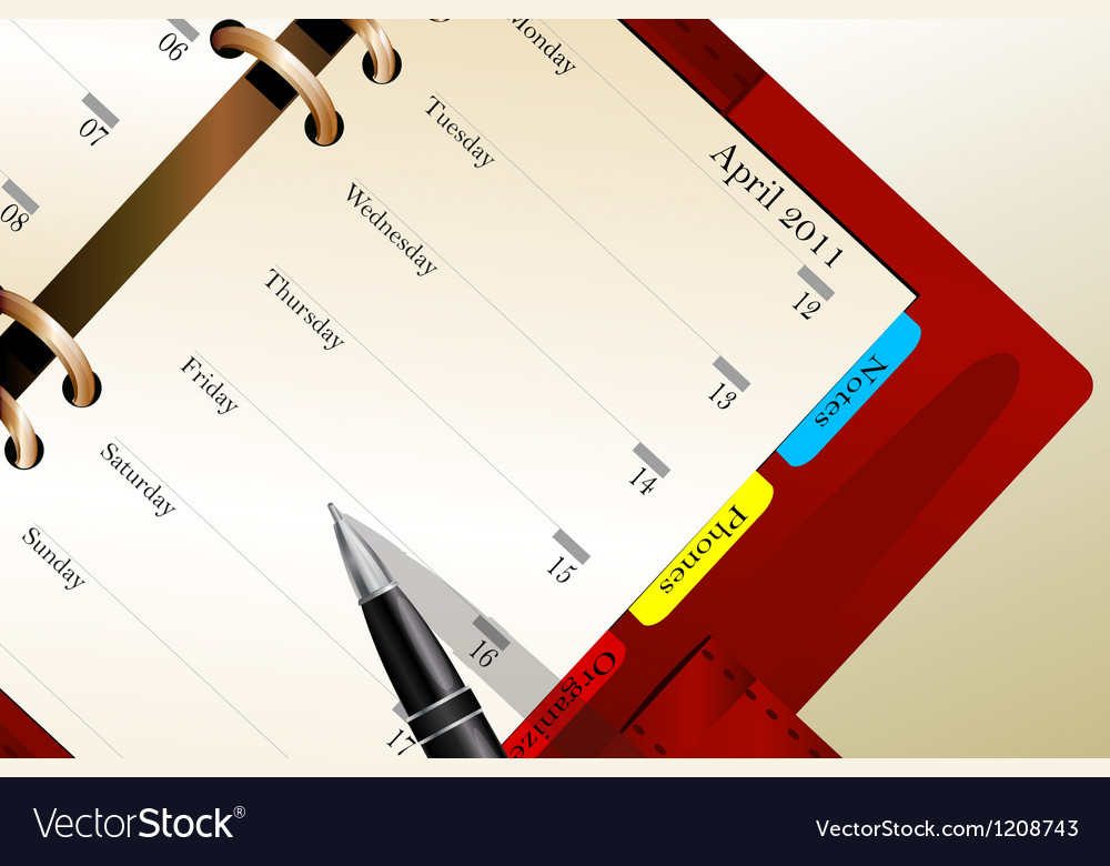 Business background with red notebook vector image