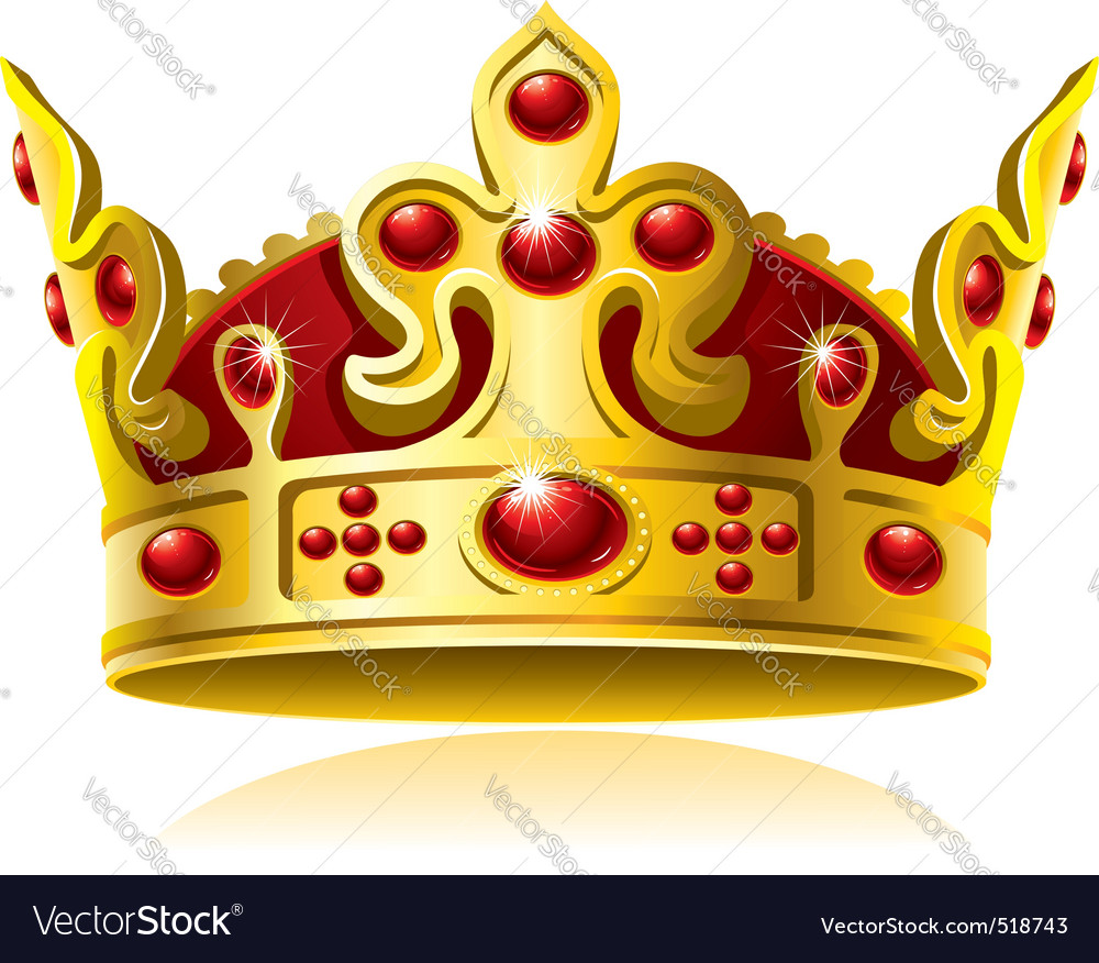 Gold crown with red gems vector image