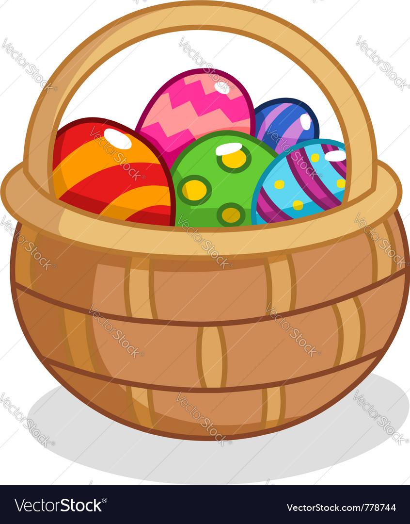 easter egg basket royalty free vector image vectorstock