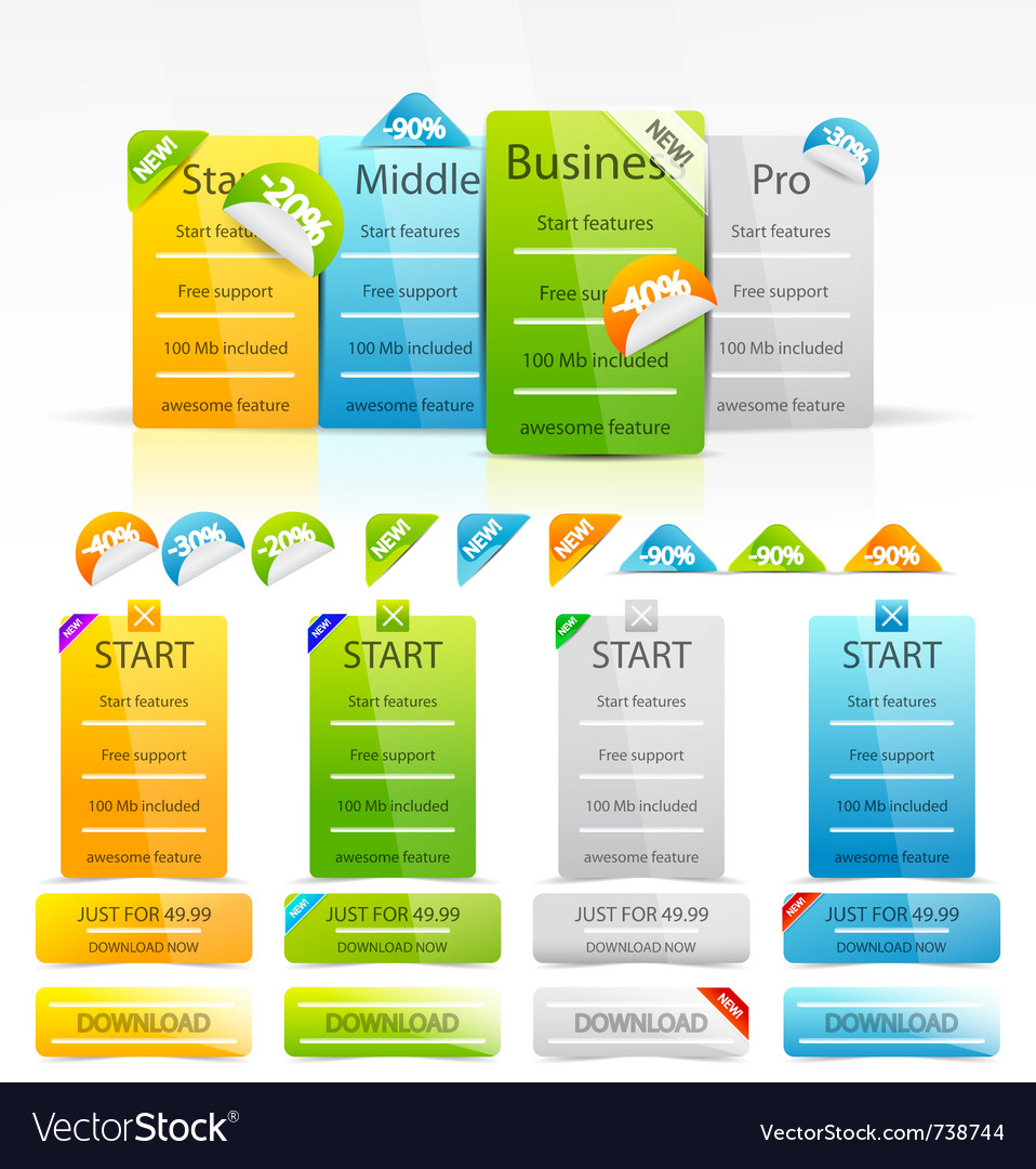 Web boxes and labels vector image
