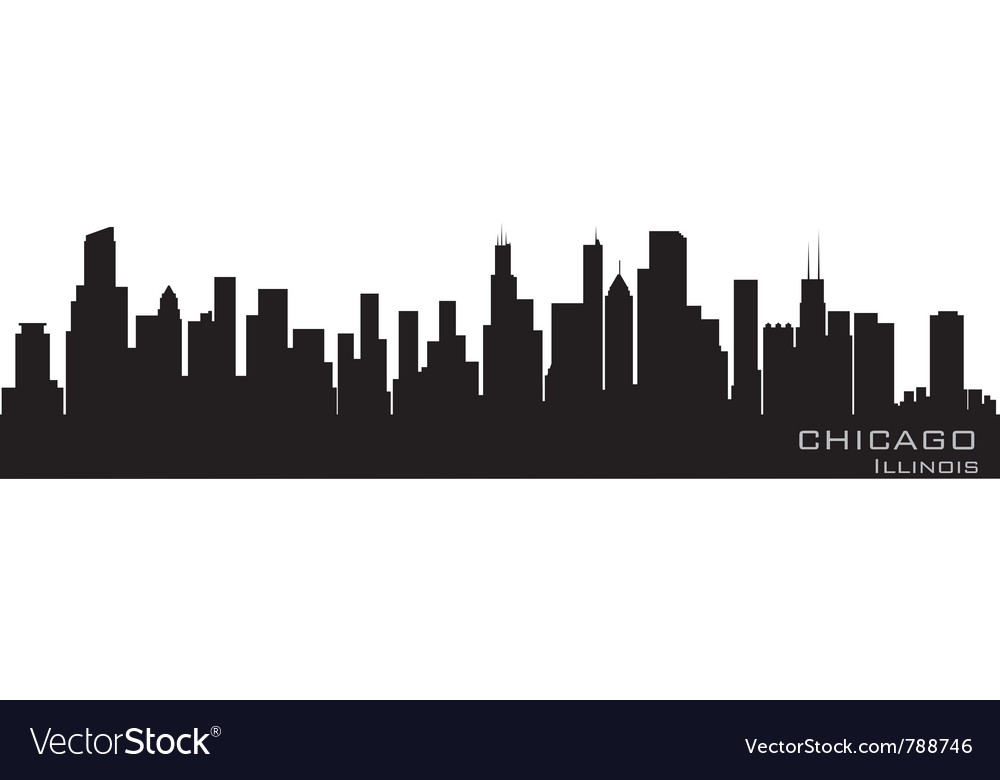 Chicago illinois skyline detailed silhouette vector image