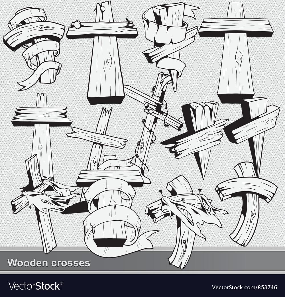 Vintage wood crosses set vector image