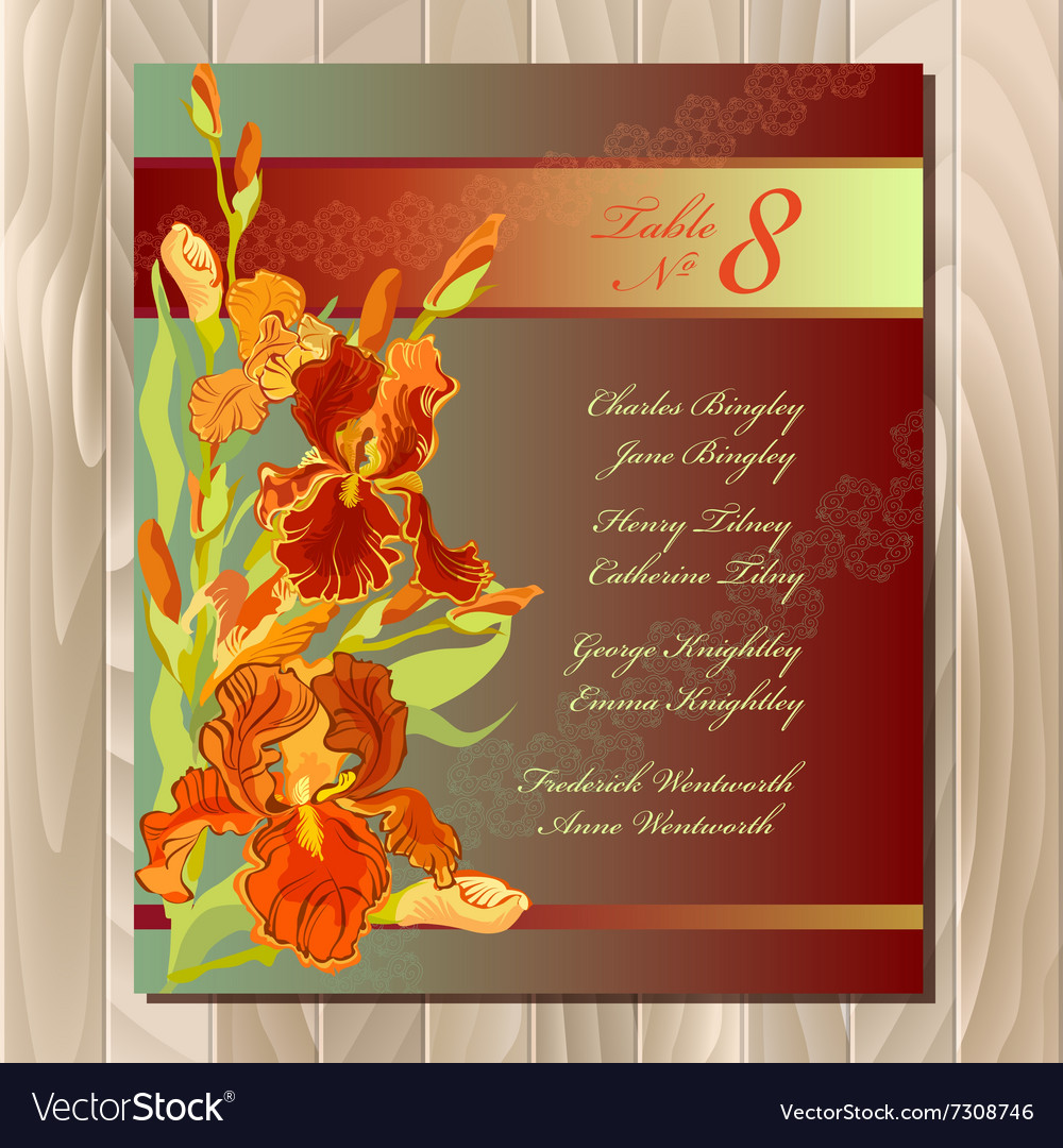 Table guest list background with red iris flowers vector image izmirmasajfo Images