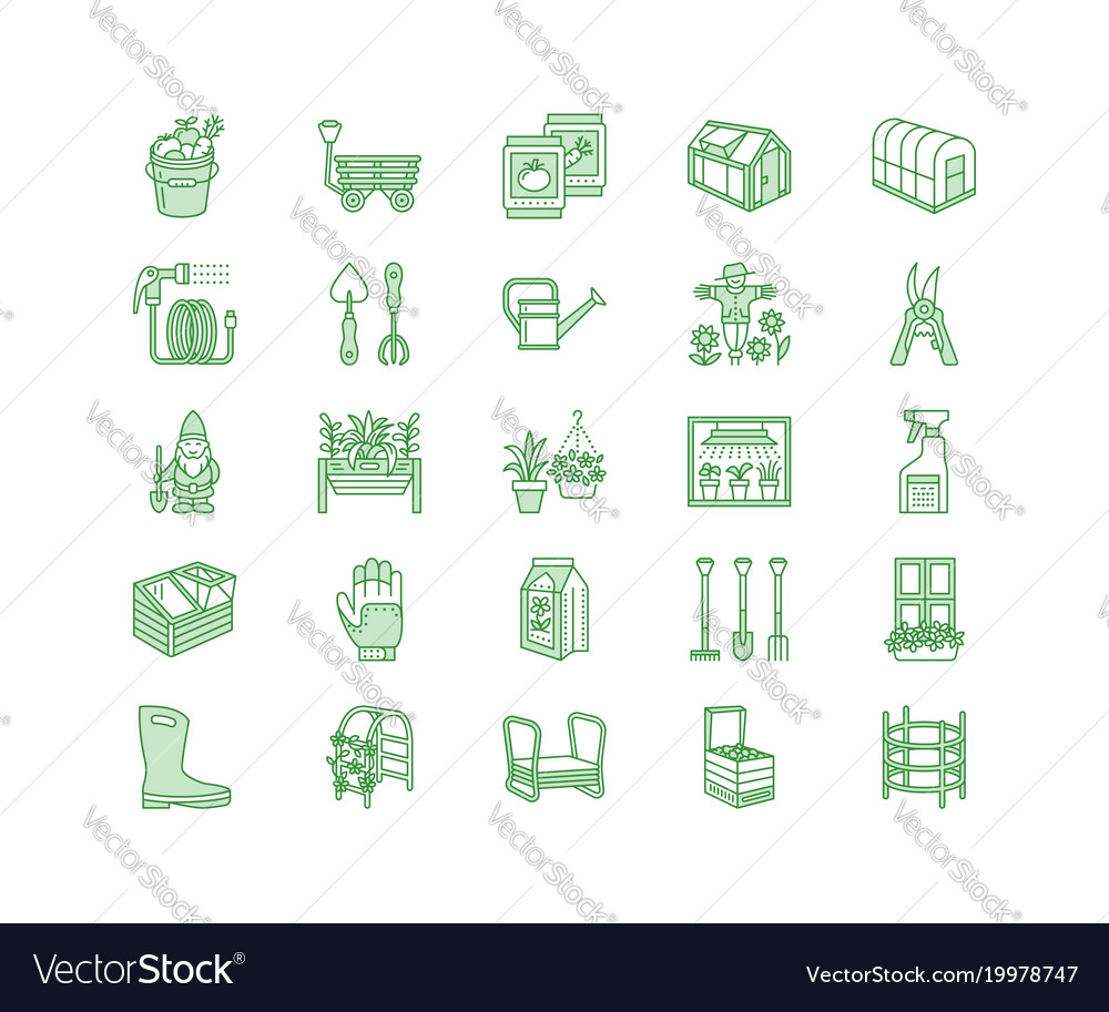 Gardening planting horticulture line icons vector image