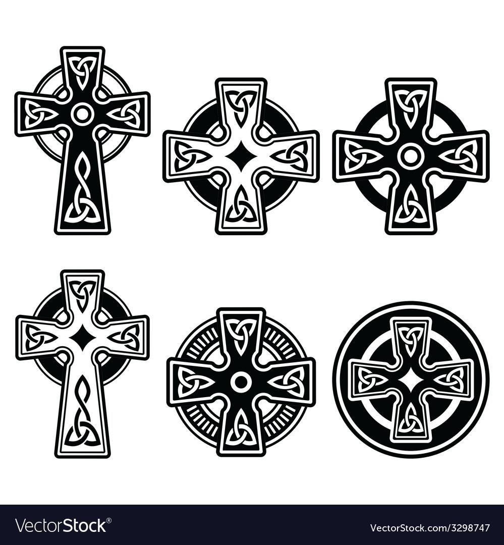 Irish scottish celtic cross on white sign vector image buycottarizona Image collections