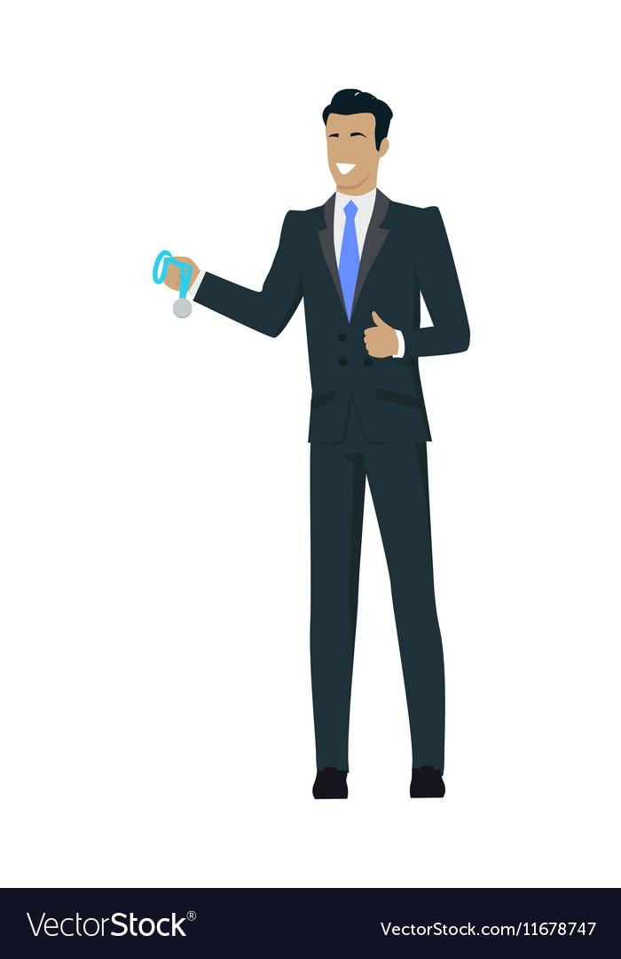 Winner Businessman Holding Medal vector image
