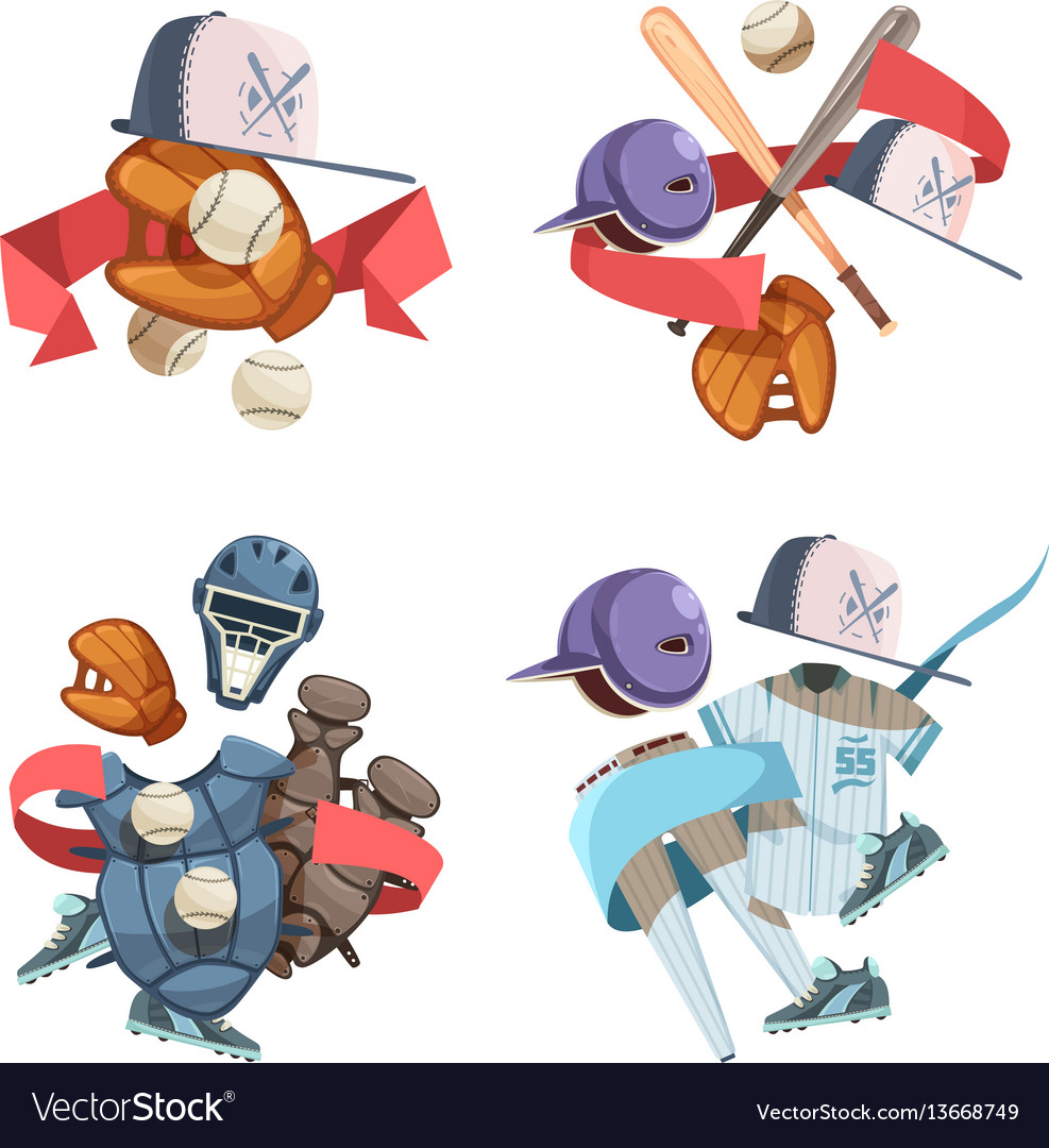Four baseball inventory compositions vector image