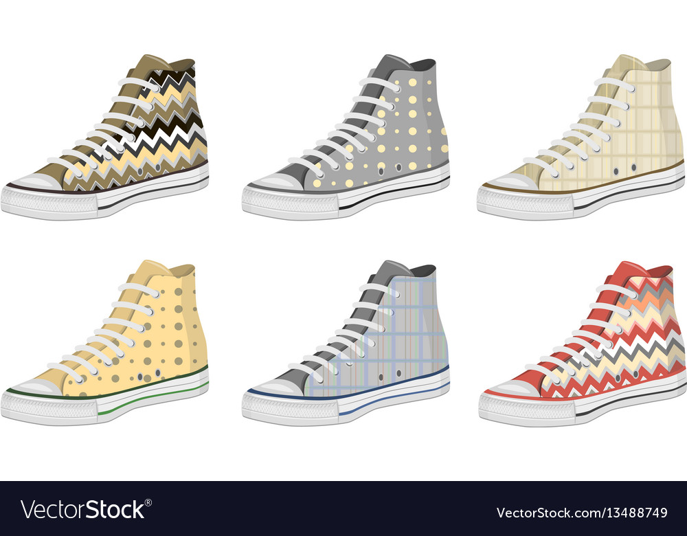 Mens shoes keds pattern vector image