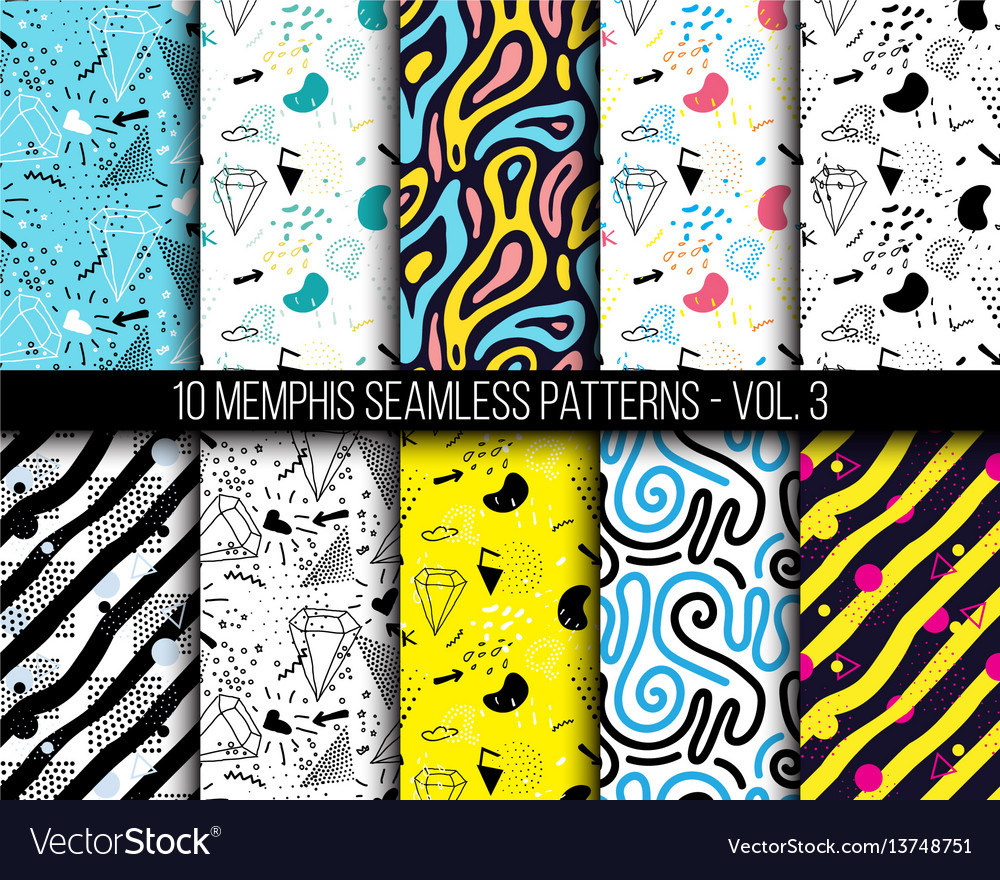 10 universal different geometric memphis seamless vector image