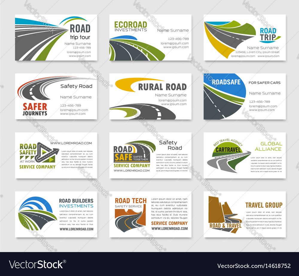 Business card template with road and highway vector image