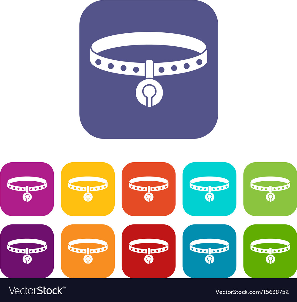 Cat collar icons set flat vector image