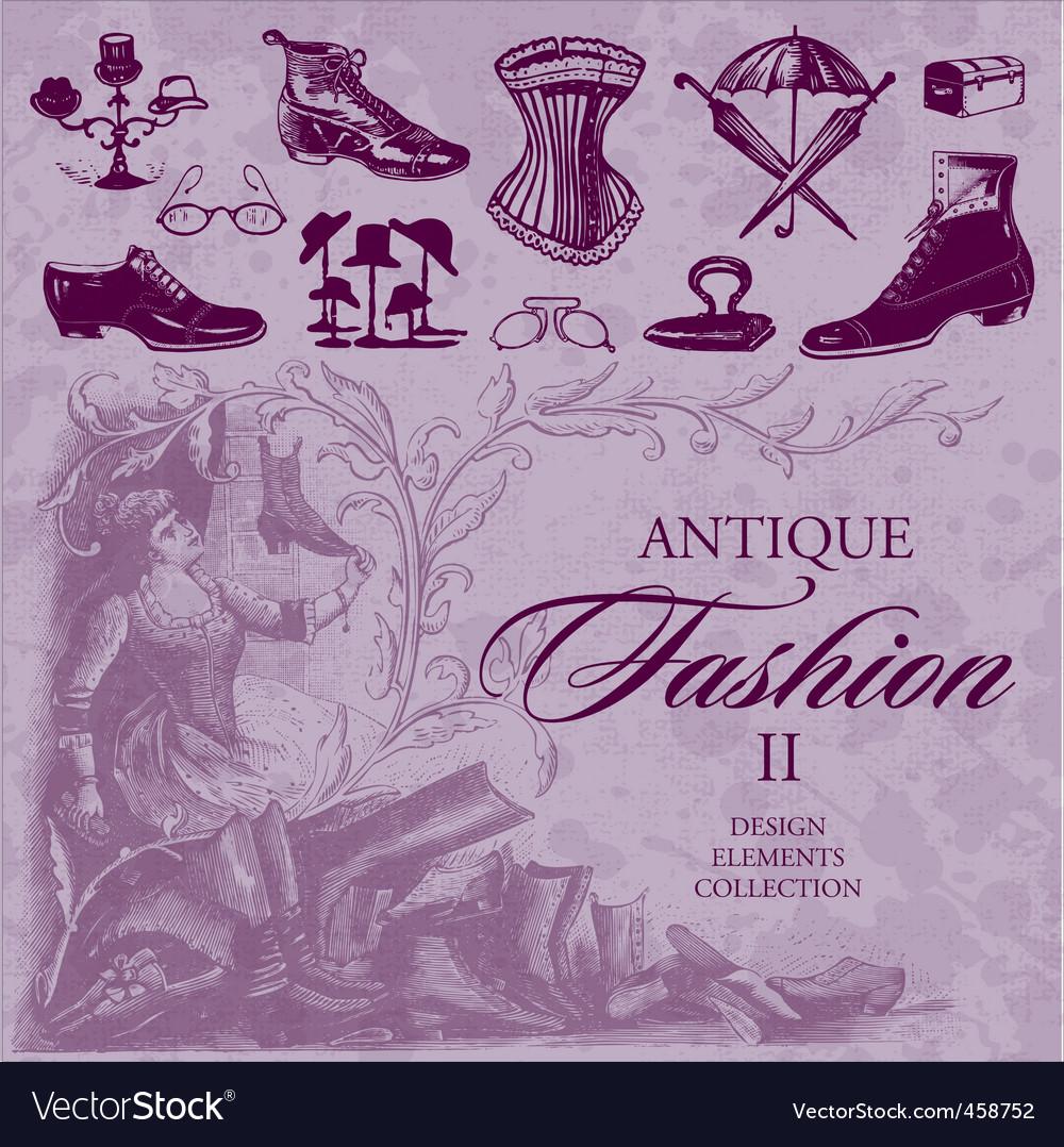Fashion antique set vector image