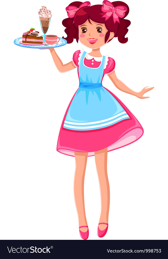 Cute waitress Vector Image