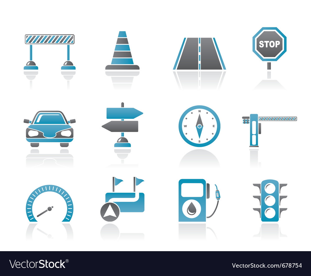 Navigation and traffic icons vector image