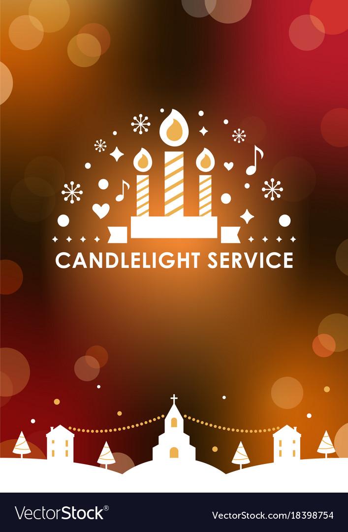 Christmas eve candlelight service invitation card vector image christmas eve candlelight service invitation card vector image stopboris Gallery