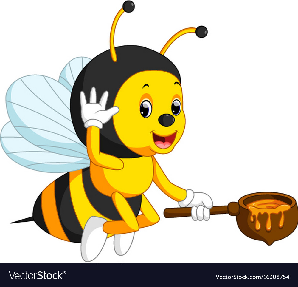 Flying bee cartoon holding honey bucket vector image