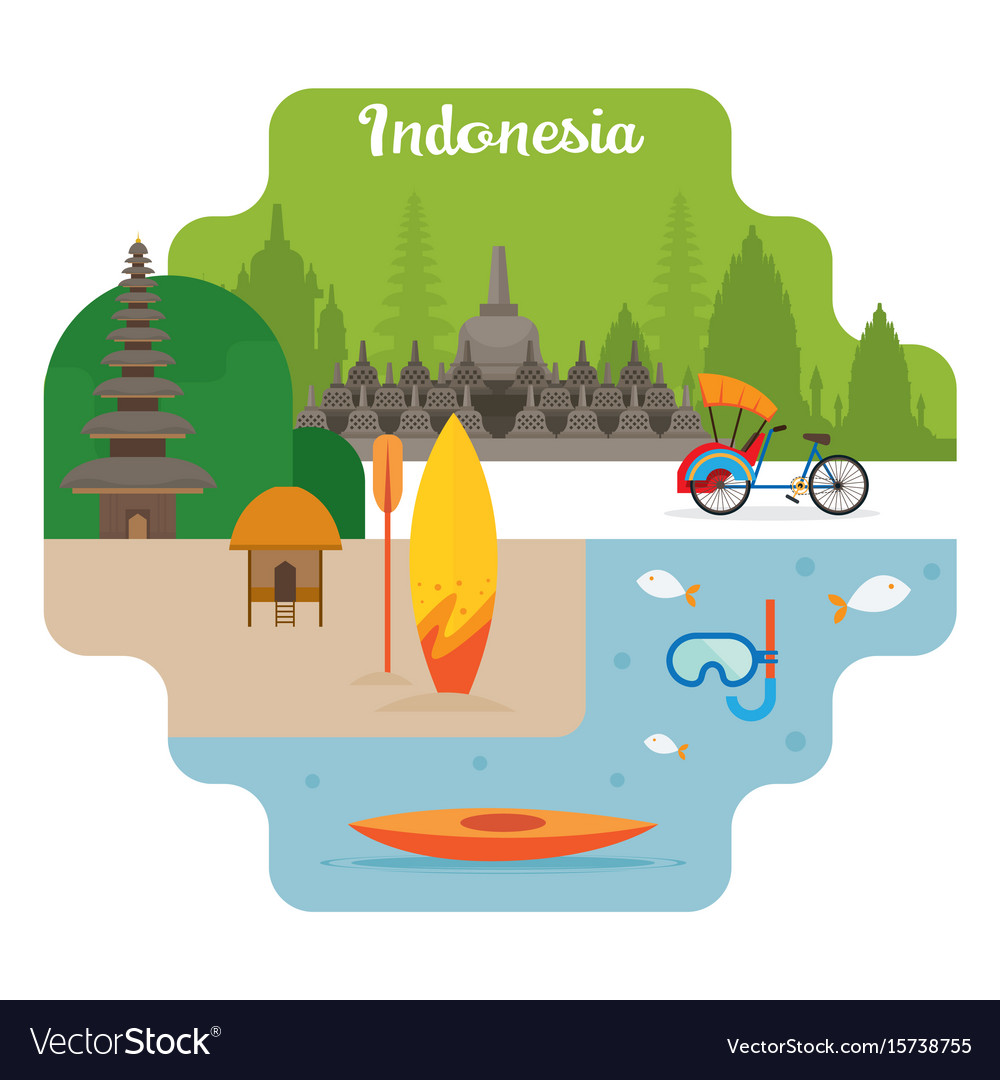 Indonesia travel and attraction landmarks vector image
