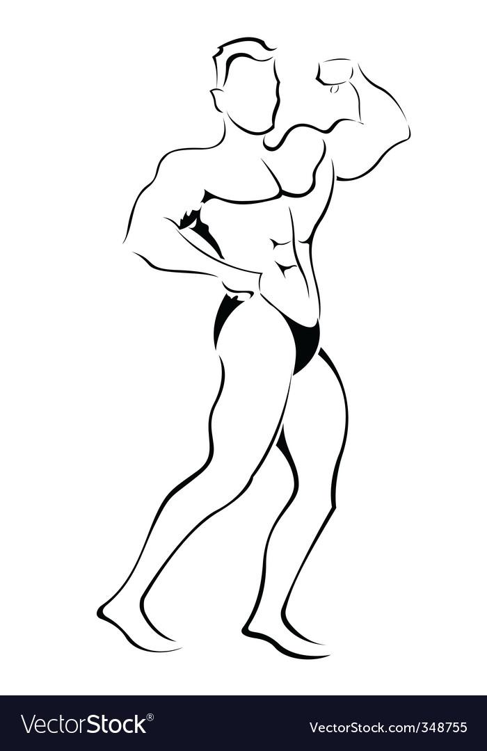 Muscle man sketch vector image