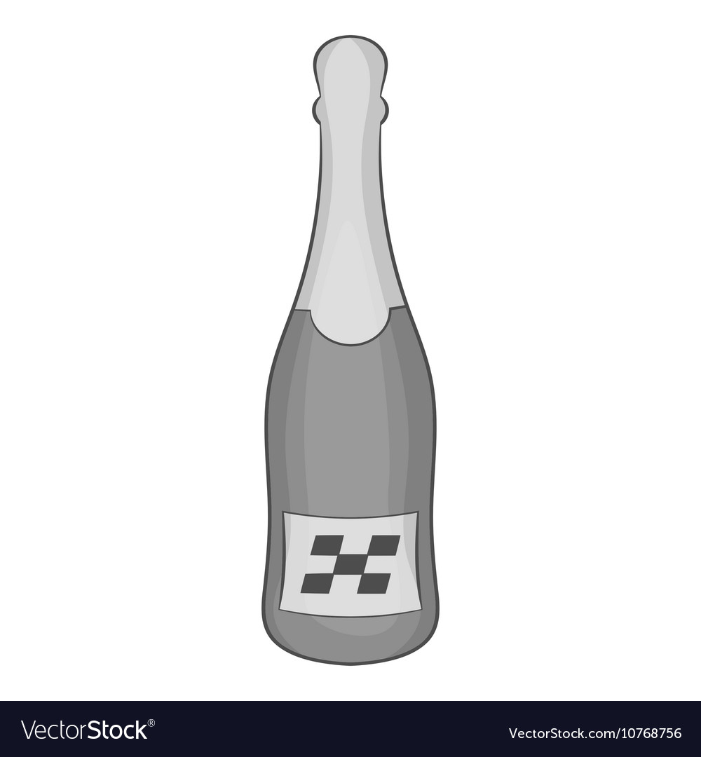 Bottle of champagne icon black monochrome style vector image