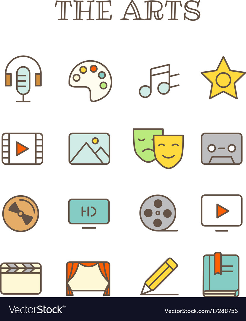 Different arts thin line color icons set vector image