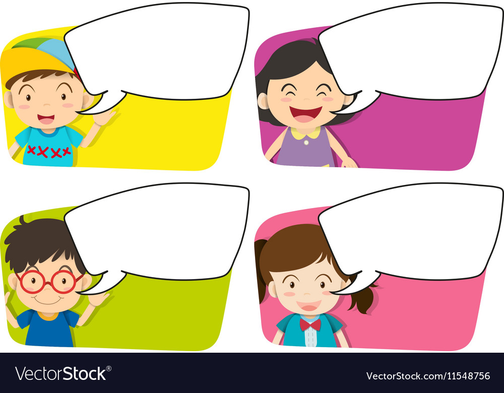 Four designs of board template and kids vector image