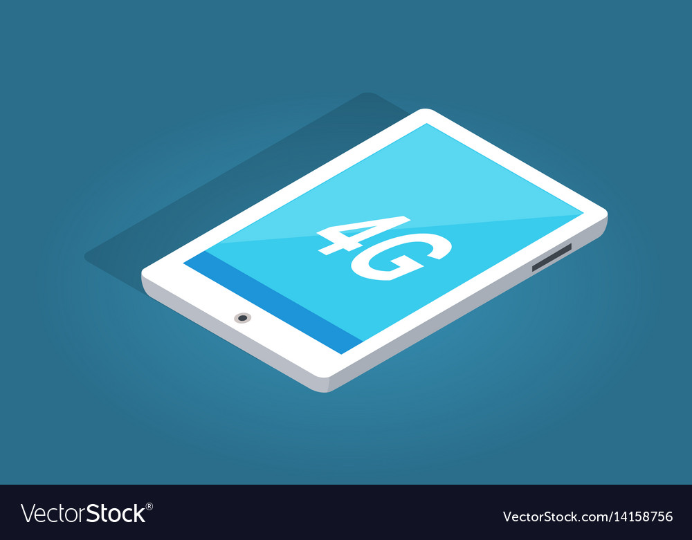 Modern white tablet with 4g function vector image