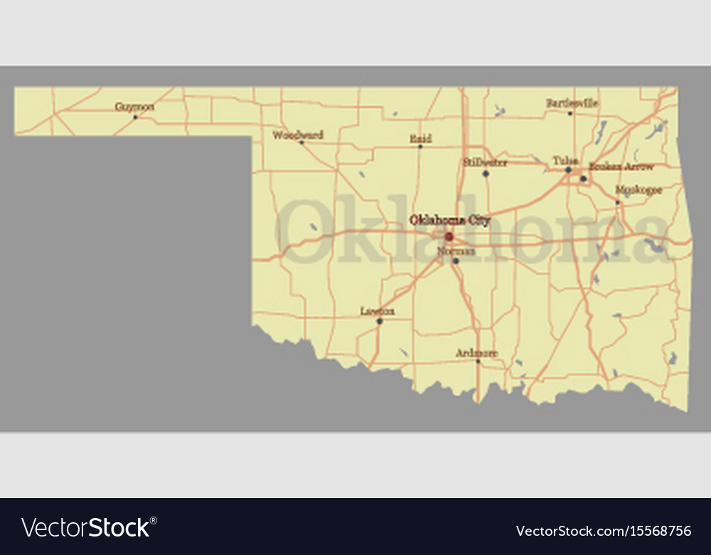 Oklahoma detailed exact detailed state map with vector image
