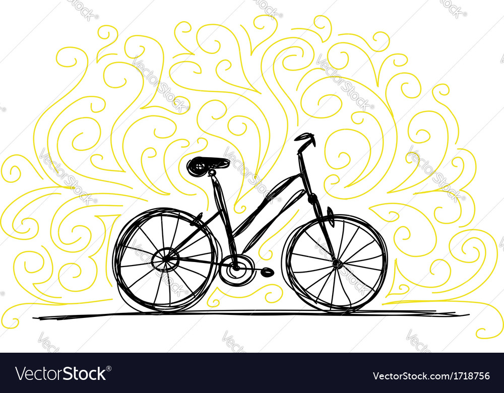Sketch of bicycle on ornamental wall for your vector image