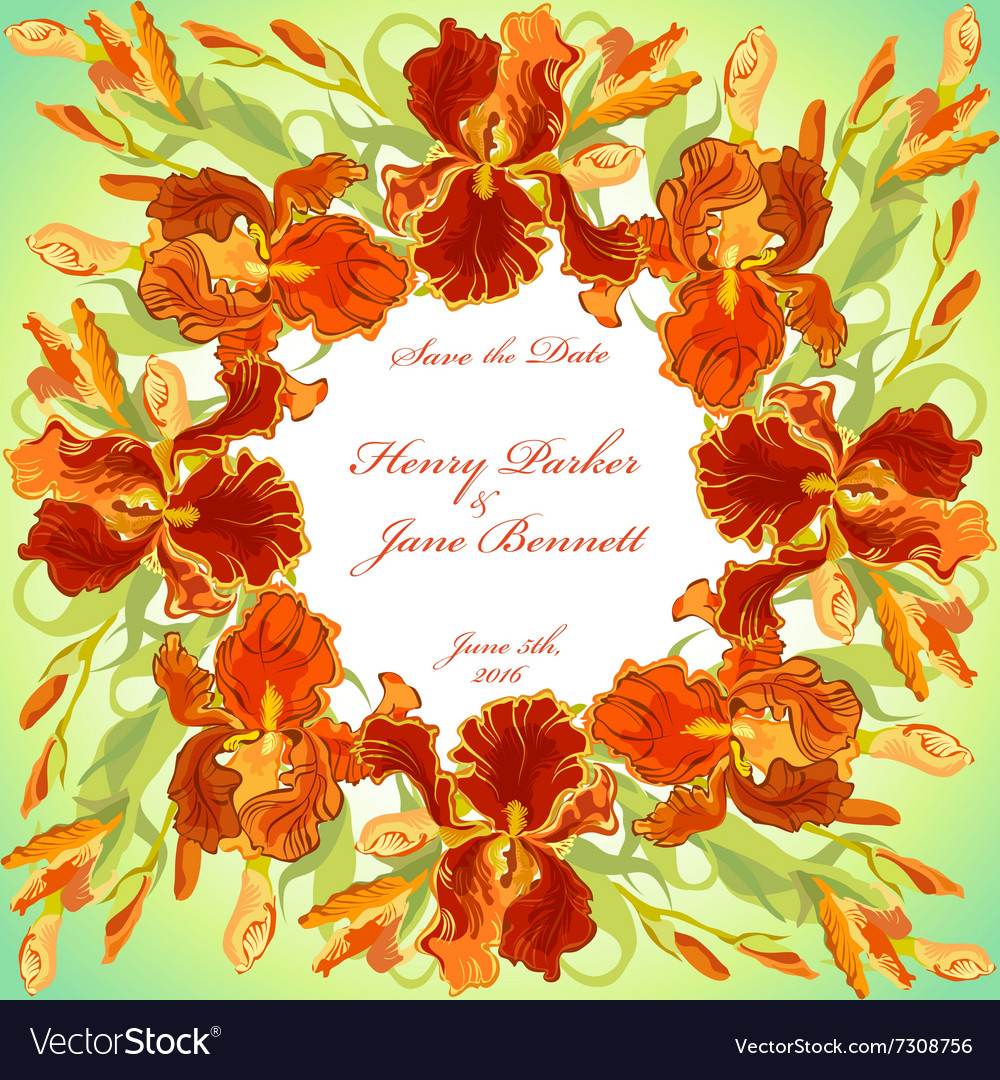 Wedding card with red iris flower wreath vector image izmirmasajfo Images