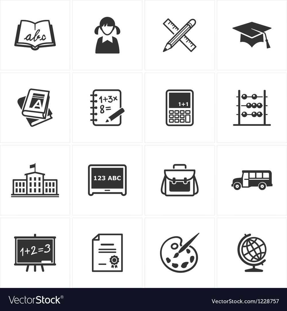 School and Education Icons - Set 1 Vector Image