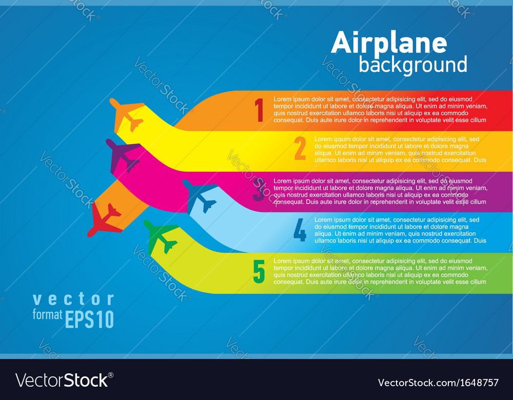 Airplane colored list background vector image