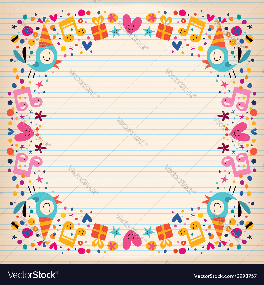 Happy Birthday border lined paper card Royalty Free Vector Image – Lined Border Paper