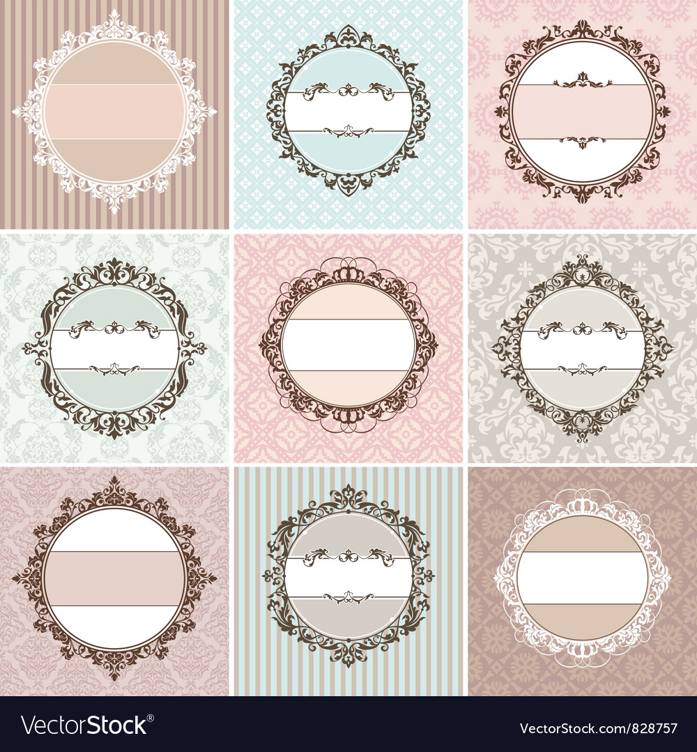 Set of vintage floral frames vector image