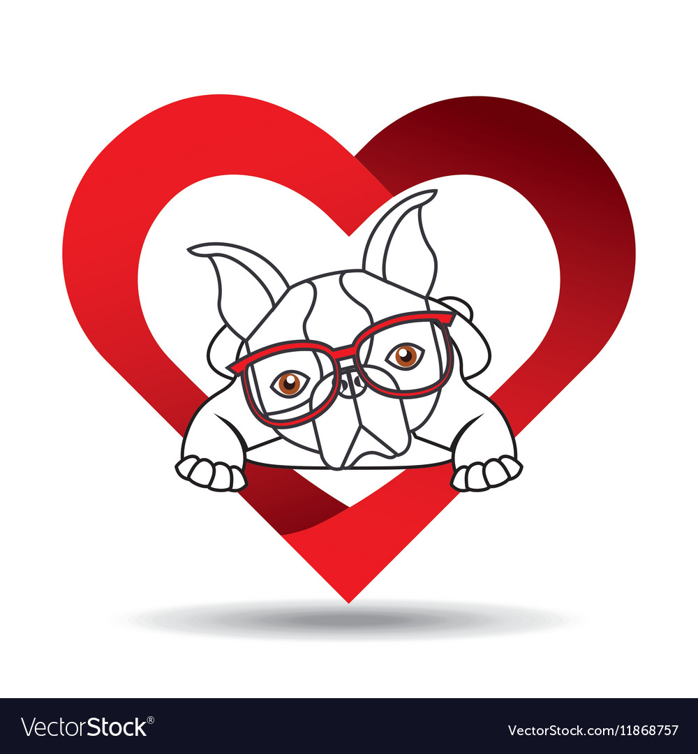Hand draw cute dog pet with glasses heart vector image