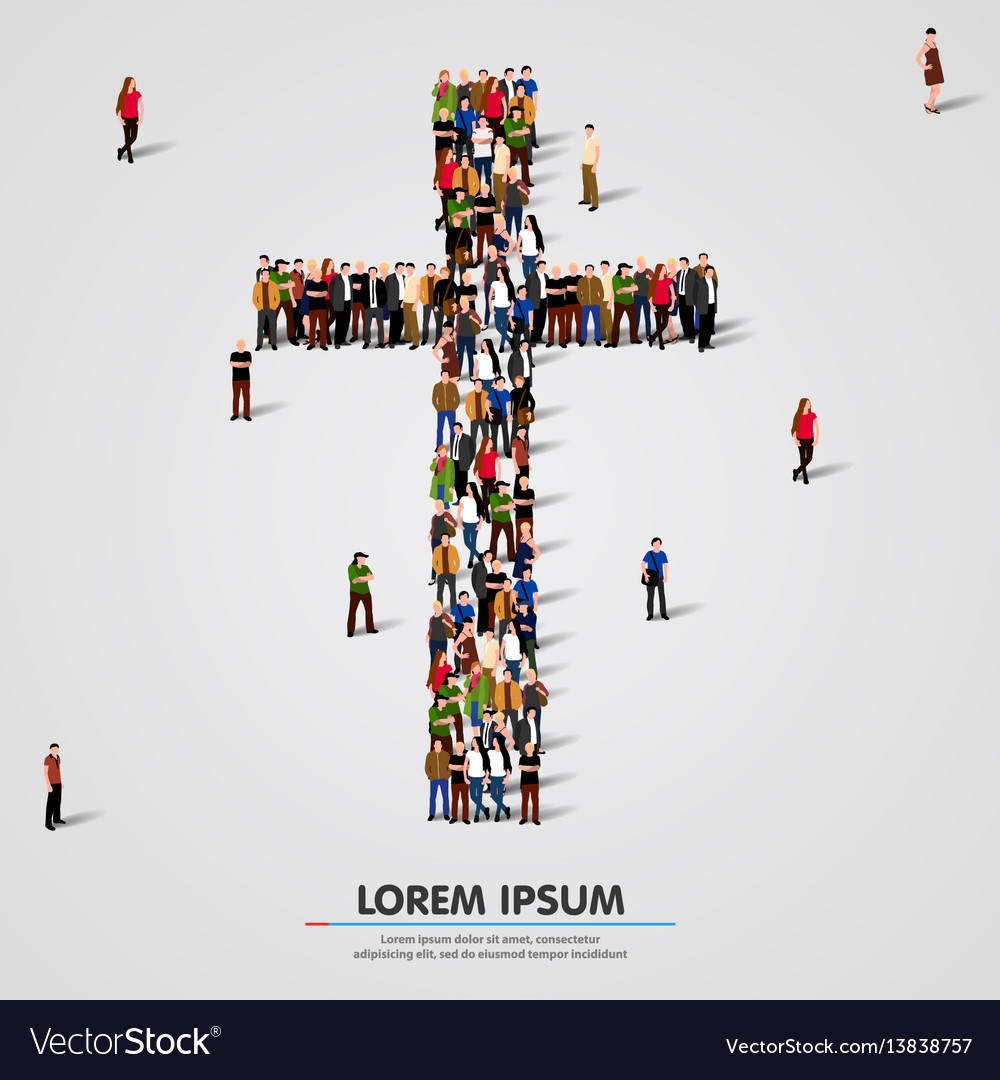 Large group of people in the cross shape vector image