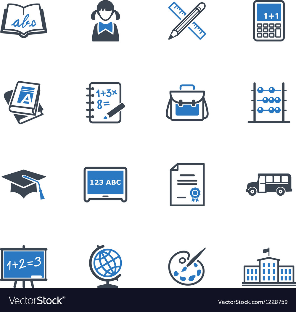 School and Education Icons Set 1 - Blue Series Vector Image