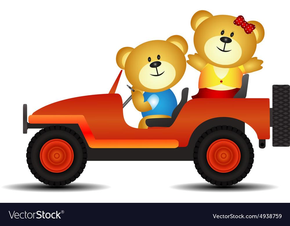 Bears on a car vector image