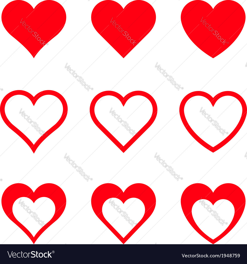 Red Hearts Isolated On White Background vector image