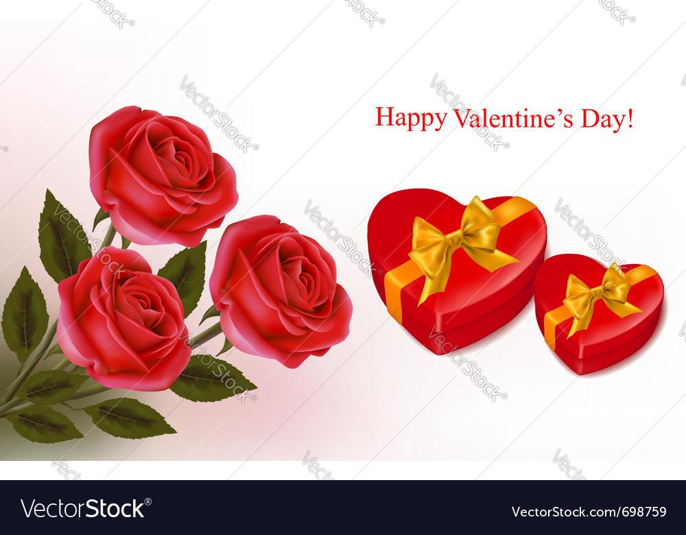 Red roses and boxse vector image