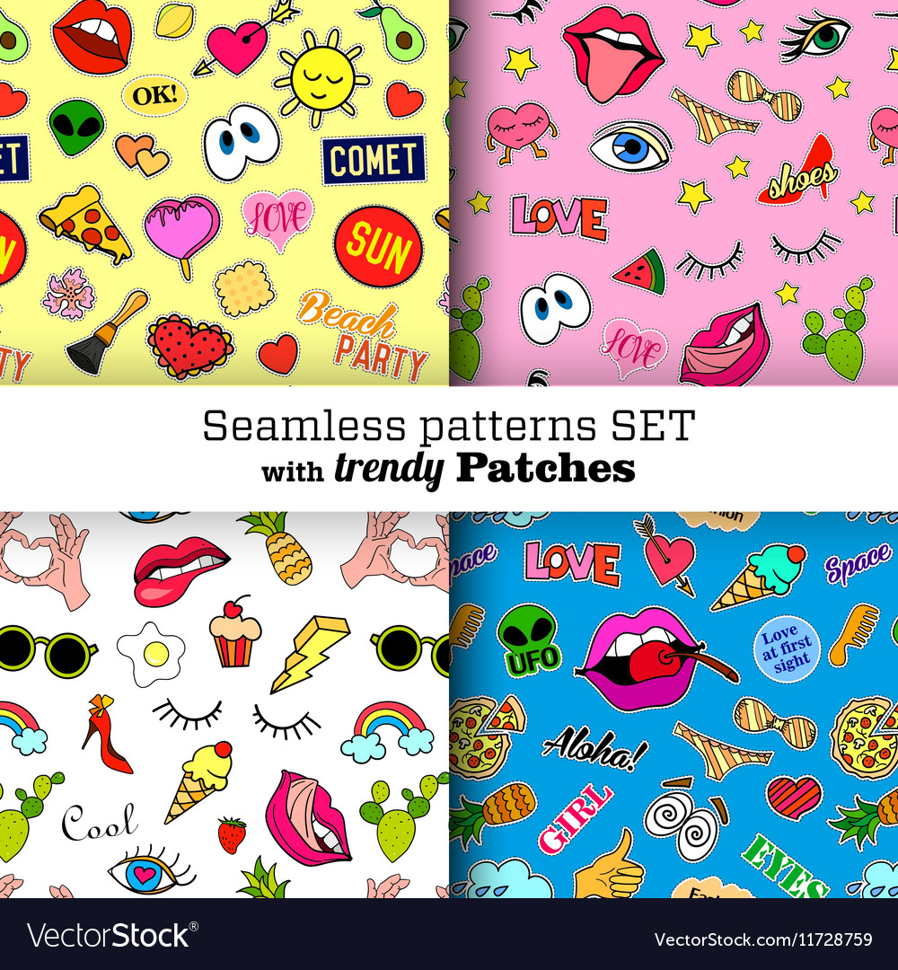 Seamless patterns set with fashion patch badges vector image