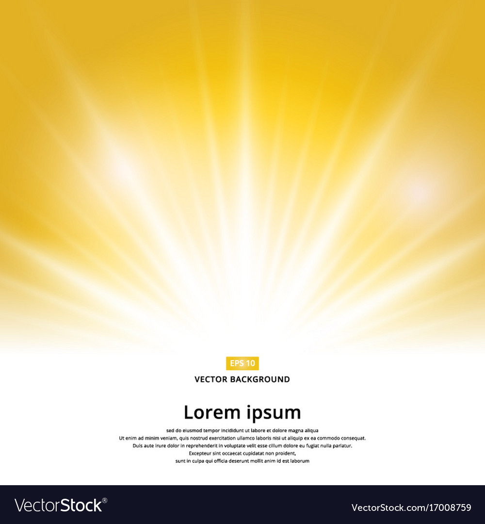 Sunlight effect sparkle on yellow background with vector image